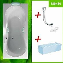 Duschbadewanne + Wannenträger + Excentergarnitur