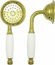 Duschbrause in Gold mit weißem Keramik Griff im