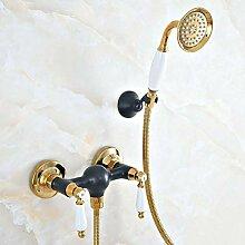 Dusche Duschkopf Duschset Black Gold Bathroom Bath