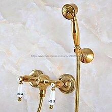 Dusche Duschkopf Duschset Gold Color Brass