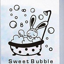 Dusche Glastür Aufkleber Cartoon Tier Bunny Sweet
