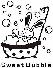 Dusche Glastür Aufkleber Cartoon Tier Hase süße