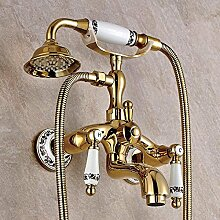 Dusche mit gold Hand zeichnen, hängende Wand