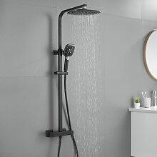 Dusche mit Thermostat Höhenverstellbar schwarz