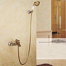 Dusche Wasserhahn Wasserhahn Dusche/Badewanne Armatur zeitgenössische Wasserfall/Regendusche/Handdusche Messing verchromt, Braun 9 Enthalten