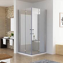 Duschkabine 100x100 Eckig Dusche Falttür 180º