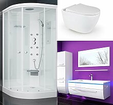 Duschkabine 90x90 WC Sitz Randlos und Absenkautomatik Hänge WC Keramik 70 cm Badmöbel Se