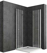 Duschkabine Falttür 75x75 ESG mit Duschtasse