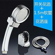 Duschkopf Abs-Handheld Ion Wasseraufbereitung filter boost Regendusche Sprinkler 7 cm, Beschichtung Zapfhähne single Kopf+2m Explosionsgeschützte Rohr