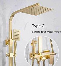 Duschsystem Gebürstetes Gold Wandduschset