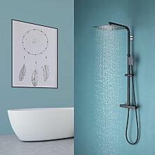 Duschsystem Schwarz Duschset mit Höhenverstellbar