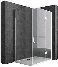 Duschtrennwand 100x140 cm, ESG-Sicherheitsglas mit