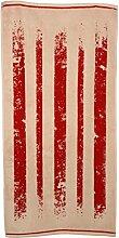 Duschtuch 70x140 cm Streifen Rot Beige, Baumwolle, Streifenmuster, gestreift, Walkfrottier, Handtuch, Badwäsche, Badetuch, Bad, Sauna, Strand, Hallenbad, Freibad