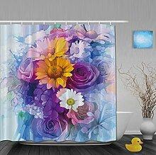 Duschvorhänge mit Pusteblumenmuster für Badezimmer, schimmel- und farbbeständiges Polyester, wasserdicht, Verbleichschutz, helles Pink, Multi20, 72(length) X 66(width)