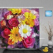 Duschvorhänge mit Pusteblumenmuster für Badezimmer, schimmel- und farbbeständiges Polyester, wasserdicht, Verbleichschutz, helles Pink, Multi19, 80(length) X 72(width)