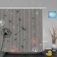 Duschvorhänge mit Pusteblumenmuster für Badezimmer, schimmel- und farbbeständiges Polyester, wasserdicht, Verbleichschutz, helles Pink, Multi3, 80(length) X 72(width)