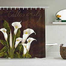 Duschvorhang Calla Lily White Flowers Grüne