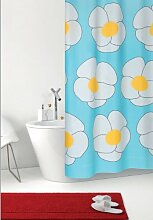 Duschvorhang Joko blau türkis mit weißen Blumen