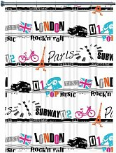 Duschvorhang London Rock´n Roll weiss schwarz