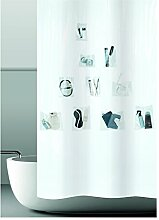 Duschvorhang mit Taschen für Fotos, Badutensilien