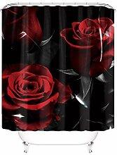 Duschvorhang, Motiv: schwarze, rote Rose,