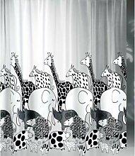 Duschvorhang Zoo Giraffe Elefant 180cm breit x