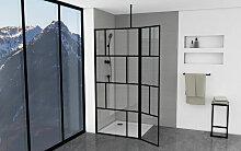 Duschwand mit trendigem Siebdruck 90+40 x 195 cm -