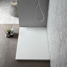 Duschwanne 70X100 Cm Weiß Mit Steineffekt Und