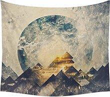 Dusk Mond Muster Wandteppich Psyschedelic Art Wandbehang Bohemian Hippie Tischdecke Tapestry Strandtuch Schöne Dekoration für Ihr Zimmer