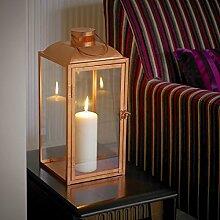Dusk Till Dawn slcandle15quadratisch kupfer Effekt Kerze Laterne mit Glas Pfanne, transparent, 23x 45x 24cm