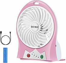 DUTISON Mini Ventilator Leise Mini Handventilator Ventilatoren mit Batterie (Rosa)