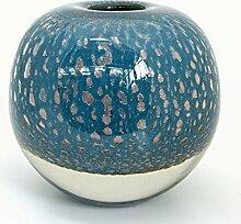 DutZ Vase BALL, blue petrol bubbles H20 Ø20