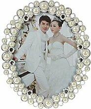 DUYGU Bilderrahmen Weiße Perlen Flora Oval 20x25cm