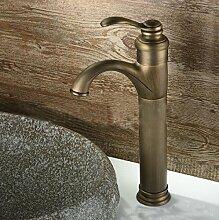 DuZiShi-slt Wasserhahn einzigen Typ, Bad Eitelkeit Toilette Wasserhahn, im europäischen Stil Vintage reinen Kupfer Küche Waschbecken Wasserhahn, heißen und kalten Wasserhahn