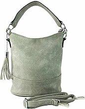 DW-Accessoires - Damen Handtasche Tasche Schultertasche Umhängetasche Henkeltasche Shopper - filigranes Lochmuster (hellgrau)