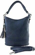 DW-Accessoires - Damen Handtasche Tasche Schultertasche Umhängetasche Henkeltasche Shopper - filigranes Lochmuster (blau)