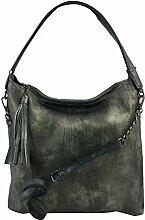 DW-Accessoires - Damen Shopper Tasche Beuteltasche Hobo-Bag Schultertasche it-bag Umhängetasche (anthrazit / silber)