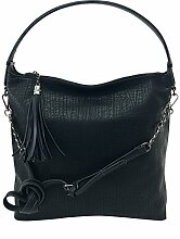 DW-Accessoires - Damen Shopper Tasche Beuteltasche Hobo-Bag Schultertasche it-bag Umhängetasche (schwarz)