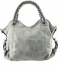 DW-Accessoires - elegante Handtasche mit Kette - Wildlederoptik - Schultertasche - Umhängetasche - Tasche - Henkeltasche (grau)