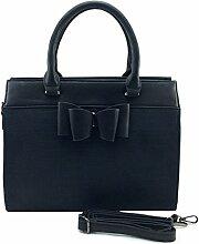 DW-Accessoires - elegante Handtasche mit Schleife - Wildlederoptik Krokoprägung - Schultertasche - Umhängetasche - Tasche - Henkeltasche (schwarz)