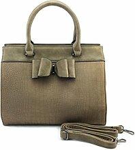 DW-Accessoires - elegante Handtasche mit Schleife - Wildlederoptik Krokoprägung - Schultertasche - Umhängetasche - Tasche - Henkeltasche (khaki)