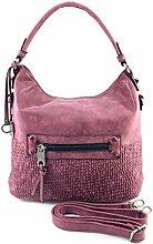 DW-Accessoires - elegante Handtasche - Wildlederoptik - Schultertasche - Umhängetasche - Tasche - Henkeltasche (brombeer)