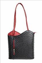 DW-Accessoires - elegante Leder Handtasche - Schultertasche - Rucksack - 2in1 Handtasche - Straußenleder-Design - schwarz / dunkelrot - Made in Italy