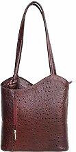 DW-Accessoires - elegante Leder Handtasche - Schultertasche - Rucksack - 2in1 Handtasche - Straußenleder-Design - bordeaux - Made in Italy