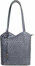 DW-Accessoires - elegante Leder Handtasche - Schultertasche - Rucksack - 2in1 Handtasche - Straußenleder-Design - grau (blau-grau) - Made in Italy