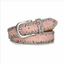 DW-Accessoires – Nietengürtel Gürtel echtes Leder - PU - kleine Nieten - individuell kürzbar (85 cm, rosa)