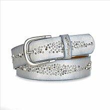 DW-Accessoires – Nietengürtel Gürtel mit Strasssteinen - echtes Leder - PU - kleine Nieten - individuell kürzbar (85 cm, silber)