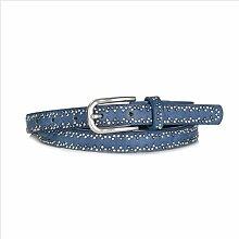 DW-Accessoires – schmaler Nietengürtel Gürtel echtes Leder - PU - kleine Nieten - individuell kürzbar (85 cm, blau)