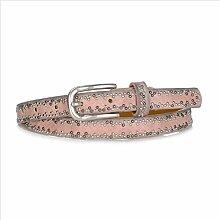 DW-Accessoires – schmaler Nietengürtel Gürtel echtes Leder - PU - kleine Nieten - individuell kürzbar (90 cm, rosa)