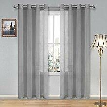 DWCN Gardinen für Wohnzimmer Grau